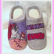 """Обувь ручной работы. Ярмарка Мастеров - ручная работа Тапочки"""" Вожак нашей стаи"""". Handmade."""