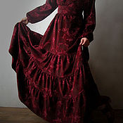 Платье вельветовое Бордо