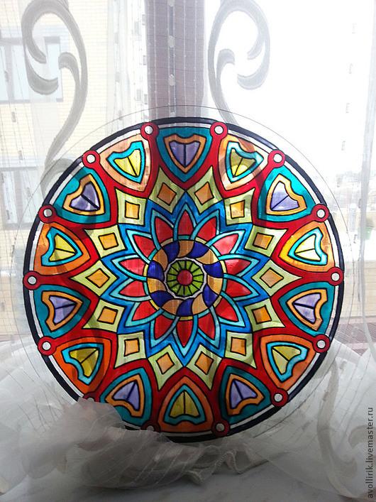 Стеклянная столешница из закаленного стекла с изображением мандалы