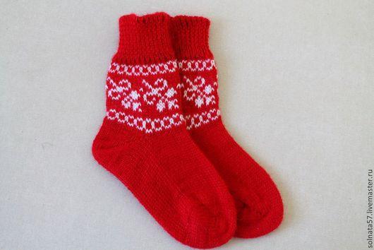"""Носки, гольфы, гетры ручной работы. Ярмарка Мастеров - ручная работа. Купить Носочки """"Алые паруса"""". Handmade. Ярко-красный"""