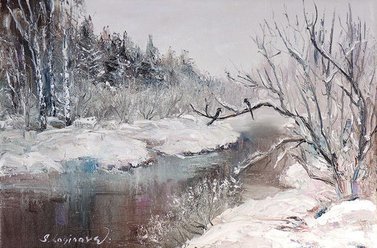 Пейзаж ручной работы. Ярмарка Мастеров - ручная работа. Купить Картина маслом с зимой Cнежный пейзаж. Handmade. Белый