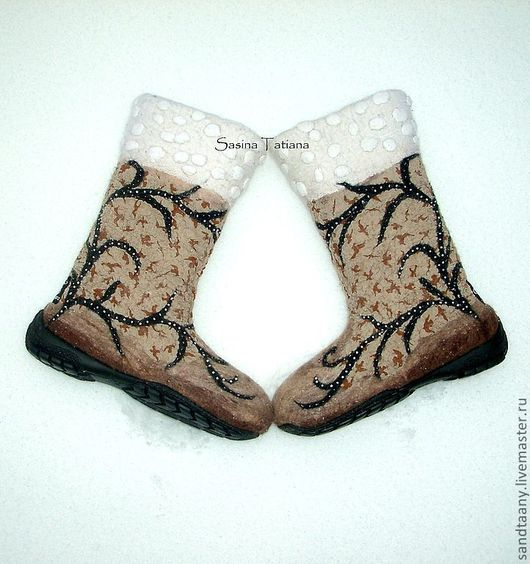 """Обувь ручной работы. Ярмарка Мастеров - ручная работа. Купить Валенки """"Перелетные птицы"""". Handmade. Бежевый, подарок, шерсть"""