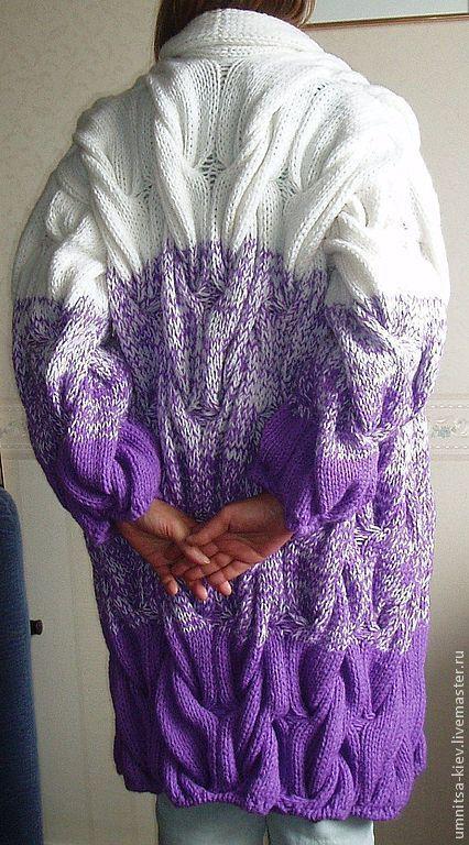 Фото. Модный вязаный кардиган с крупными жгутами.\r\nВязаный кардиган длинный можно назвать вязаным пальто. Вязание на заказ.
