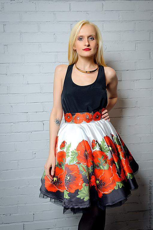 Юбка солнце, маки, Марта Кари, красные маки, ткань на юбку