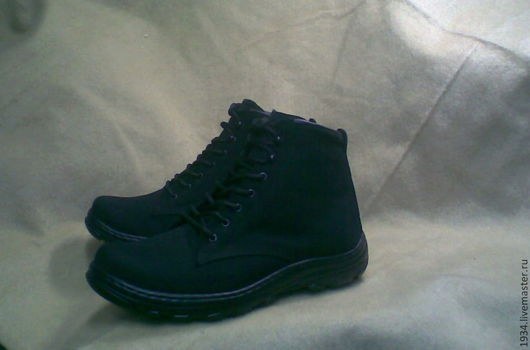 Обувь ручной работы. Ярмарка Мастеров - ручная работа. Купить Ботинки мужские CLASSICS-2. Handmade. Черный, флисовый подклад