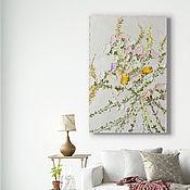 Картины и панно handmade. Livemaster - original item Bouquet of roses beige painting in bedroom Texture painting with flowers. Handmade.