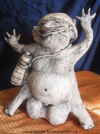 """Статуэтки ручной работы. Ярмарка Мастеров - ручная работа. Купить Керамическая статуэтка """"Тануки. Японский зверь - оборотень"""".. Handmade. для дома"""