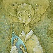 Картины и панно ручной работы. Ярмарка Мастеров - ручная работа Девушка с бирюзовым кувшином Картина фэнтези. портрет девушки. Handmade.