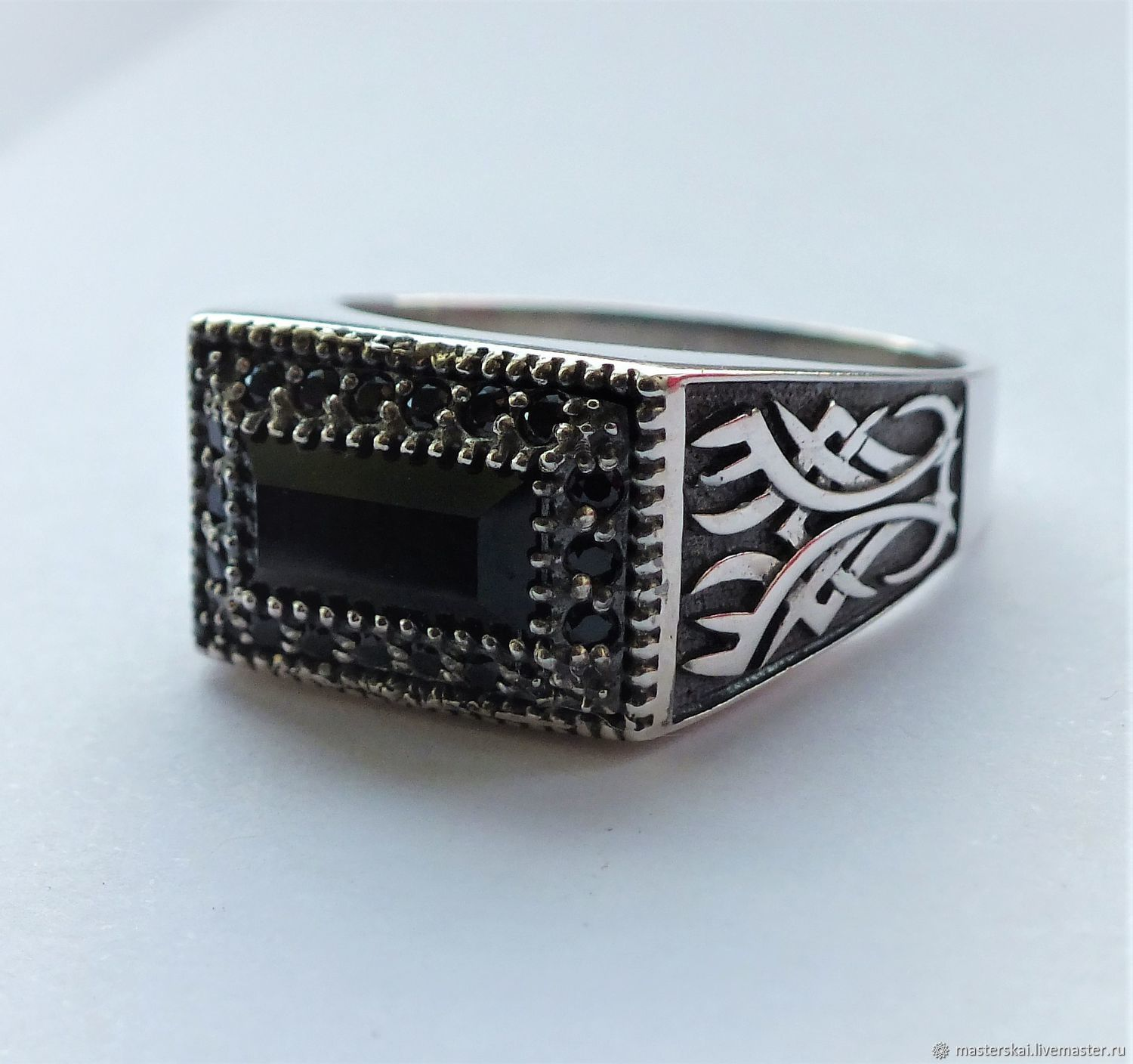 Ring 'Juliano' - agate, Swarovski crystals, 925 silver, Rings, Moscow,  Фото №1