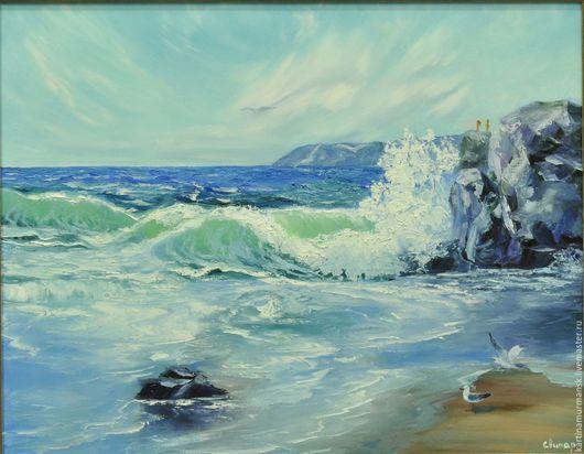 """Пейзаж ручной работы. Ярмарка Мастеров - ручная работа. Купить Картина маслом морской пейзаж 55/70 """"Стихия моря"""". Handmade."""
