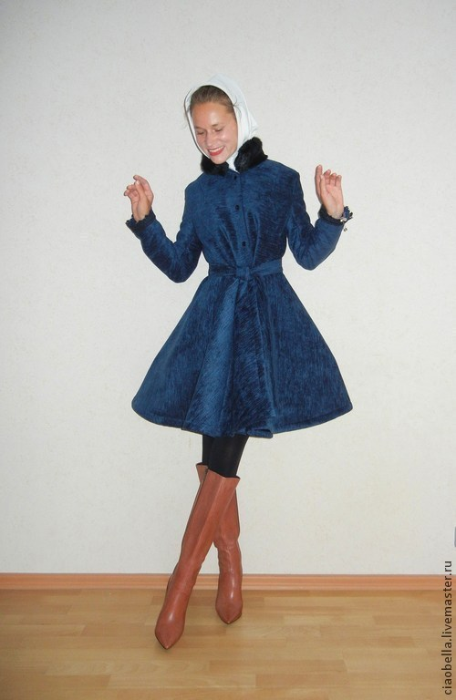 """Верхняя одежда ручной работы. Ярмарка Мастеров - ручная работа. Купить Пальто """"Роскошь сапфира"""", зима. Handmade. Тёмно-синий"""