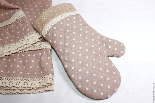 Кухня ручной работы. Ярмарка Мастеров - ручная работа. Купить Прихватка рукавица  льняная в горошек. Handmade. Бежевый, для кухни