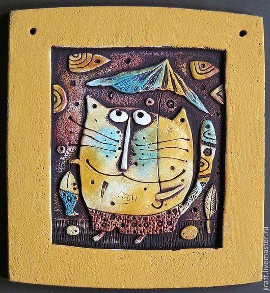 Животные ручной работы. Ярмарка Мастеров - ручная работа. Купить Кот с зонтом. Handmade. Кот, котик, котенок, довольный кот