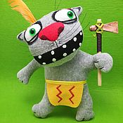 Куклы и игрушки handmade. Livemaster - original item Plush soft toy grey cat, the Indian with an axe. Handmade.
