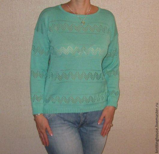 """Кофты и свитера ручной работы. Ярмарка Мастеров - ручная работа. Купить Пуловер """"Морской бриз"""". Handmade. Тёмно-бирюзовый"""