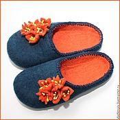 """Обувь ручной работы. Ярмарка Мастеров - ручная работа Тапочки """" Оранжевые цветочки"""". Handmade."""