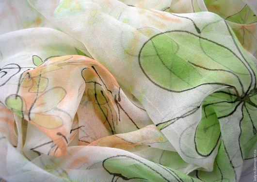 Платок `Флора`, батик, шелковый шифон