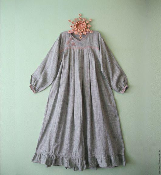 Платья ручной работы. Ярмарка Мастеров - ручная работа. Купить Платье изо льна легкое. Handmade. Тёмно-зелёный