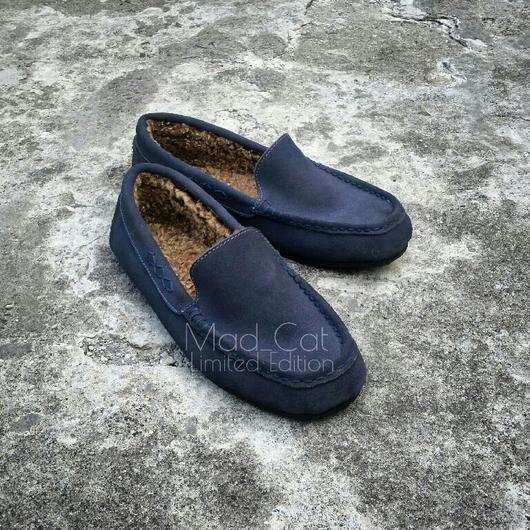 Обувь ручной работы. Ярмарка Мастеров - ручная работа. Купить Мужские мокасины из натуральной замши и овчины. Handmade. Мокасины