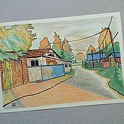 Картины и панно ручной работы. Ярмарка Мастеров - ручная работа Авторская картина цветными карандашами и маркером Таежный поселок. Handmade.