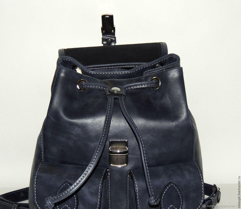 00ea09c32bfa Backpacks handmade. Blue leather backpack  Trinity . Natalia Kalinovskaya.  My Livemaster.