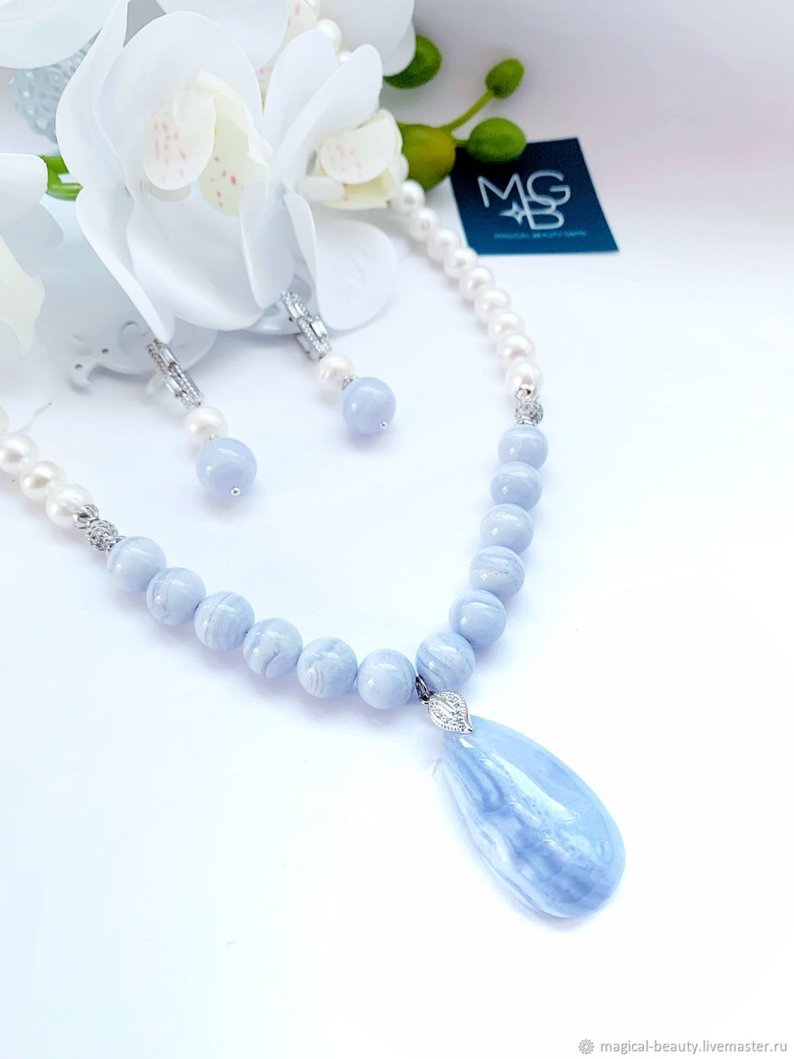 Necklace and earrings with sapphire and pearls, Necklace, Moscow,  Фото №1