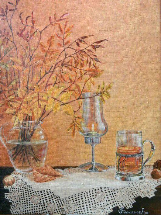"""Натюрморт ручной работы. Ярмарка Мастеров - ручная работа. Купить Натюрморт """"Горячий чай"""". Handmade. Осень, чай, лимон, натюрморт"""