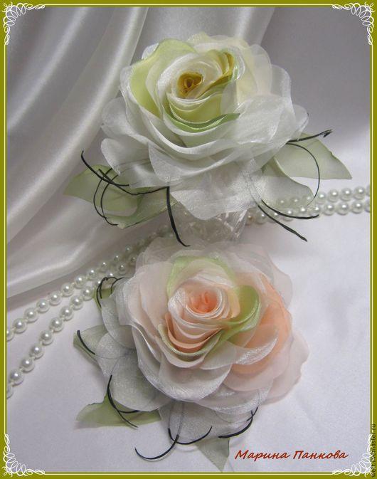 Брошь из ткани, Персиков роза, роза, цвет персика, нежная роза,  персик, желтый, зеленый.