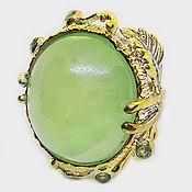 Украшения handmade. Livemaster - original item 925 silver ring with very large prenite and chrysolites. Handmade.