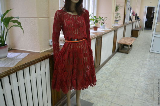 """Платья ручной работы. Ярмарка Мастеров - ручная работа. Купить вязаное платье """"ананасы"""". Handmade. Бордовый, вязание на заказ, хлопок"""