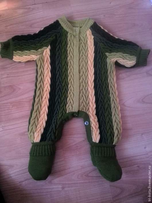 Одежда ручной работы. Ярмарка Мастеров - ручная работа. Купить детский комбинезон. Handmade. Тёмно-зелёный, в полоску, теплый, детский