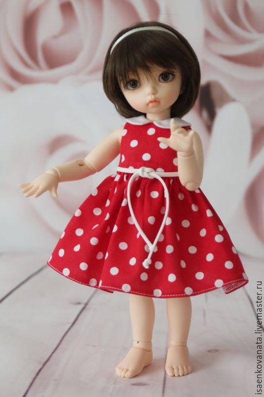 Одежда для кукол ручной работы. Ярмарка Мастеров - ручная работа. Купить Платье в горох для LittleFee. Handmade. Ярко-красный