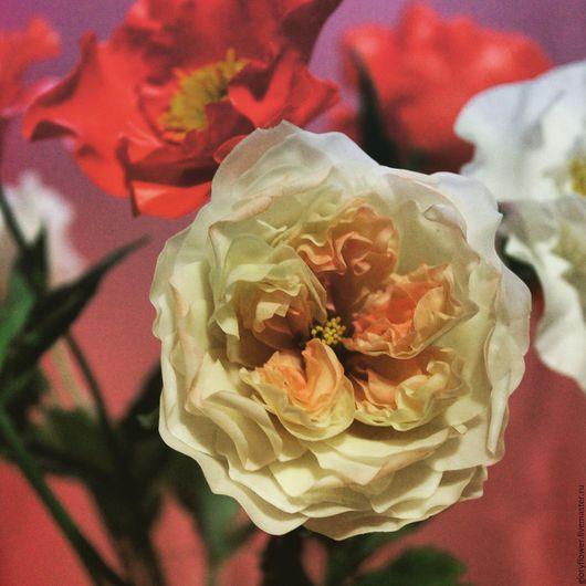 """Искусственные растения ручной работы. Ярмарка Мастеров - ручная работа. Купить Цветы из полимерной глины. Поштучно. Английская роза """"David Austin"""". Handmade."""