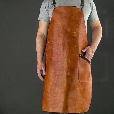 """Текстиль ручной работы. Ярмарка Мастеров - ручная работа Фартук из кожи """"Шеф"""" цвет рыжий. Handmade."""