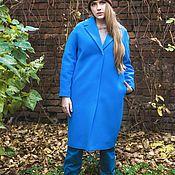 Одежда ручной работы. Ярмарка Мастеров - ручная работа Зимнее пальто на утеплителе  кокон длинное синее теплое Мэй синий. Handmade.