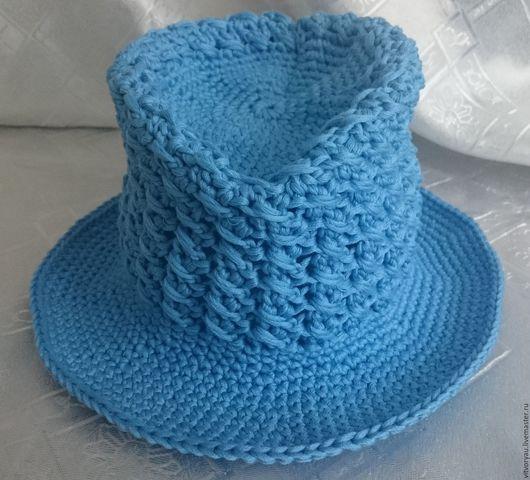Шляпы ручной работы. Ярмарка Мастеров - ручная работа. Купить Шляпа крючком. Handmade. Голубой, крючком, хлопок