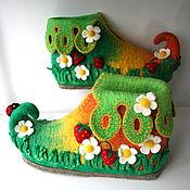 """Обувь ручной работы. Ярмарка Мастеров - ручная работа Валяные тапочки """"Вот оно какое наше лето....."""". Handmade."""