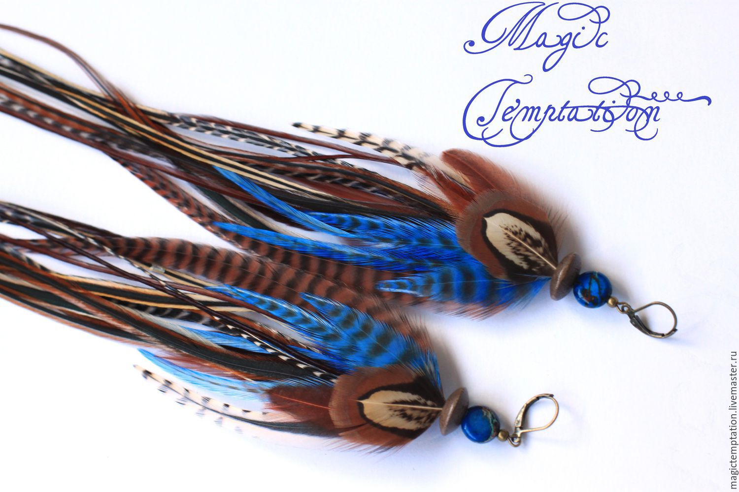 Blue feather earrings, Earrings, Moscow,  Фото №1