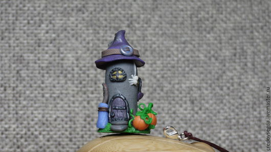 Кулоны, подвески ручной работы. Ярмарка Мастеров - ручная работа. Купить Подвеска-статуэтка домик Halloween светлый. Handmade. Фиолетовый