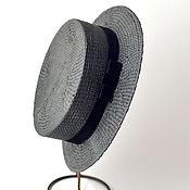 Аксессуары ручной работы. Ярмарка Мастеров - ручная работа Шляпа канотье соломенная черная. Handmade.