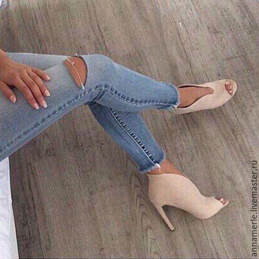 Обувь ручной работы. Ярмарка Мастеров - ручная работа. Купить Ботильоны Elegant,9,5 см,беж замш открытый нос. Handmade.