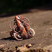 Украшения ручной работы. Ярмарка Мастеров - ручная работа Пустынных кружев череда. Медный перстень с варисцитом. Handmade.