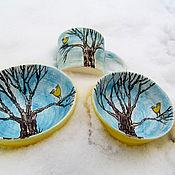 """Посуда ручной работы. Ярмарка Мастеров - ручная работа Набор посуды """"Птички"""". Handmade."""