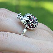 Украшения handmade. Livemaster - original item Garnet ring with zircons made of 925 GA0050 silver. Handmade.