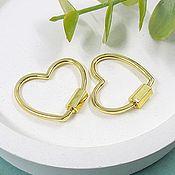 Материалы для творчества handmade. Livemaster - original item Lock Carabiner Heart 21.5x24x2. 5483 mm gold plated (). Handmade.
