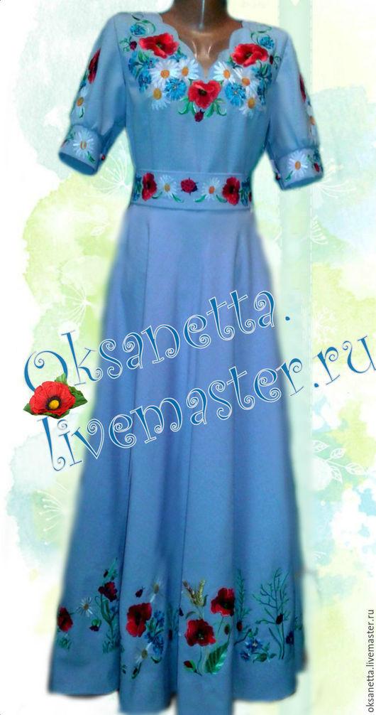 """Платья ручной работы. Ярмарка Мастеров - ручная работа. Купить Платье """"Алина"""". Handmade. Голубой, платье в этно-стиле"""