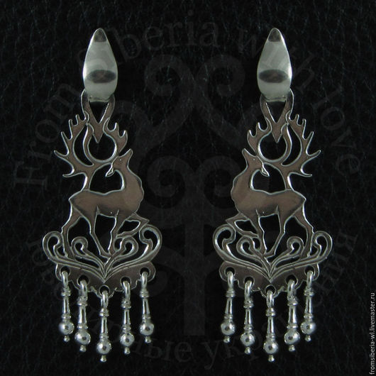 Серьги ручной работы. Ярмарка Мастеров - ручная работа. Купить Серьги с оленями (СН3) серебро 925. Handmade. Длинные серьги