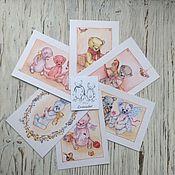 Открытки ручной работы. Ярмарка Мастеров - ручная работа Набор открыток с моими мишками. Handmade.