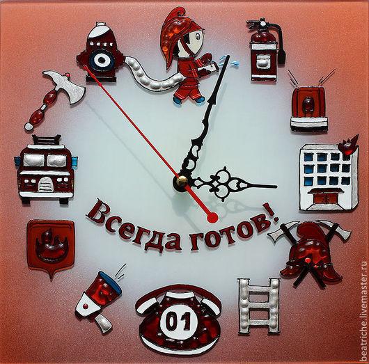 Часы для дома ручной работы. Ярмарка Мастеров - ручная работа. Купить Часы ко дню пожарной охраны. Handmade. стекло
