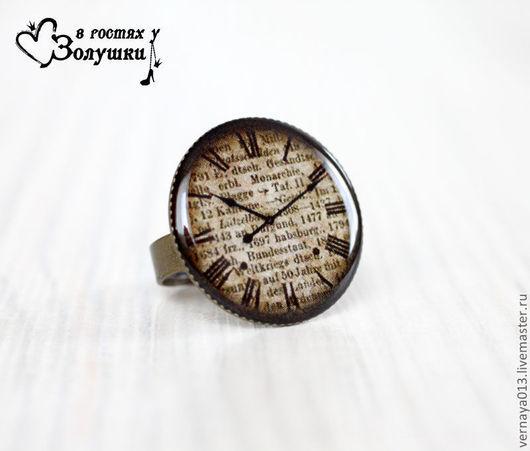 """Кольца ручной работы. Ярмарка Мастеров - ручная работа. Купить Кольцо """"Винтажные часы"""". Handmade. Коричневый, кольцо с часами"""
